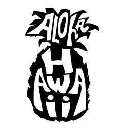 Aloha hawaii typography banner pineapple sketch vector
