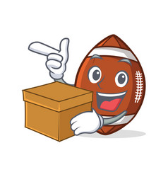American football character cartoon with box vector