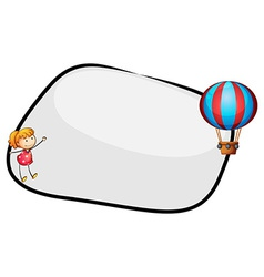 An empty template with a floating balloon and a vector