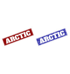 Arctic blue and red rectangle seals with unclean vector