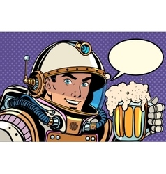 Astronaut with a mug of foaming beer vector image