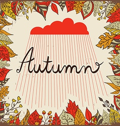 autumn floral background with leaves text vector image