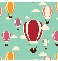Background with hot air balloons seamless pattern vector