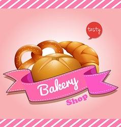Bakery shop logo design with bread vector