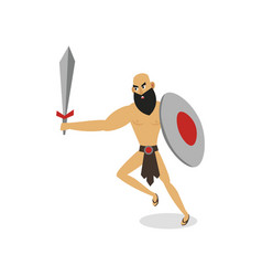 bearded rome gladiator with steel sword and round vector image