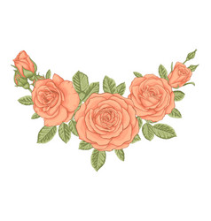 Beautiful bouquet with vintage orange roses and vector