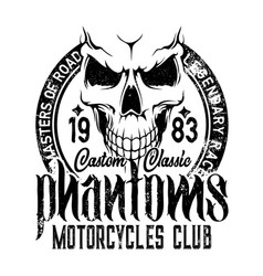 Biker riders club badge motorcycle skeleton skull vector
