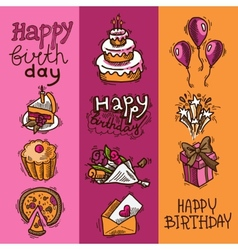 Birthday sketch banner set vector