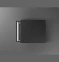 black empty box mock up on dark gray background vector image