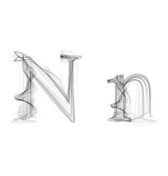 Black Smoke font Letter N vector