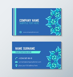 Blue green abstract business card template vector