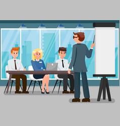 Business trainer presentation flat vector