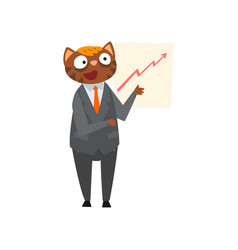 businessman cat making presentation and explaining vector image