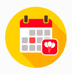 calendar with party balloon icon vector image