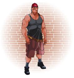 Cartoon funny male healthy man in helmet on brick vector