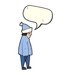 cartoon person in winter clothes with speech vector image