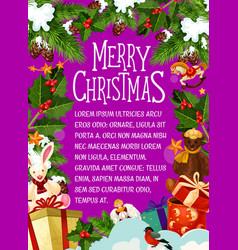 Christmas card with festive new year wreath vector