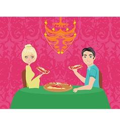 Couple enjoying pizza vector