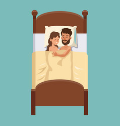 couple sleeps hugs in bed smiling vector image