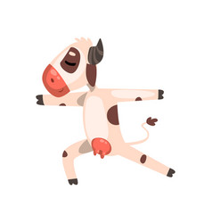 Cow standing in hero pose funny farm animal vector