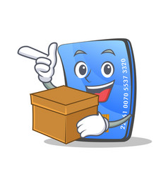 Credit card character cartoon with box vector