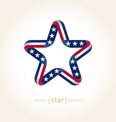 design element star with american flag colors vector image vector image