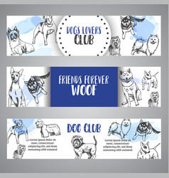 Dog club banners with hand drawn dogs breeds vector