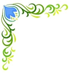 Doodle color abstract flower corner frame vector