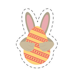 easter egg ear rabbit decoration - cut line vector image
