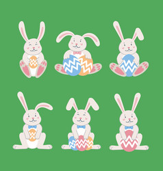 easter rabbits easter cartoon bunny from front vector image