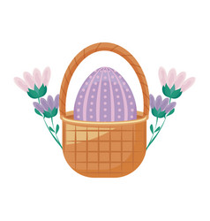 egg of easter in basket wicker with flowers vector image
