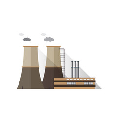 Factory building with pipes and cooling towers vector