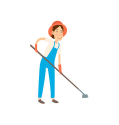 farmer is going to cultivate the beds flat design vector image