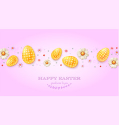 festive pattern from golden eggs spring flowers vector image