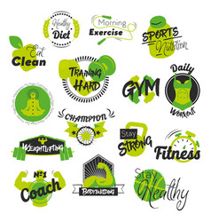 Fitness and gym hand drawn logos vector