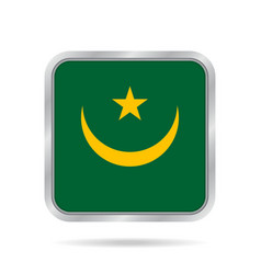 flag of mauritania metallic gray square button vector image