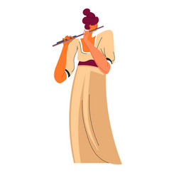 Flutist playing flute performer or part band vector