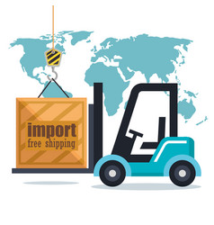 forklift delivery service icons vector image