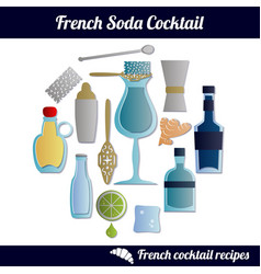 french soda cocktail set isolated elements on vector image