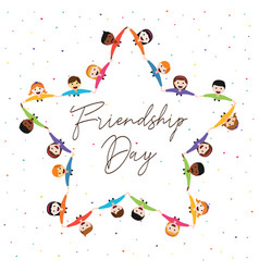 Friendship day card of star shape friend group vector
