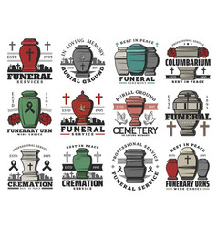 Funeral cremation urns cemetery tombstone crosses vector