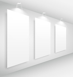 gallery interior picture frame with lights vector image vector image