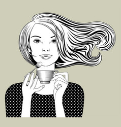 girl with loose flowing hair holding in her hands vector image