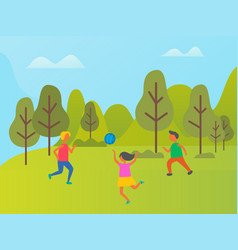 girls and boy playing volleyball in forest vector image