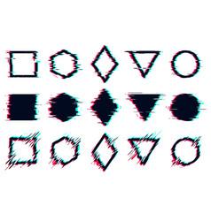Glitched tv distorted signal frames glitch set vector