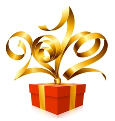 golden ribbon and gift box vector image