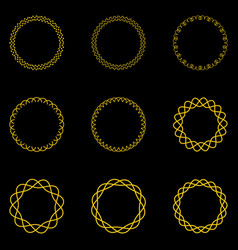 golden vintage round frames geometric ornaments vector image