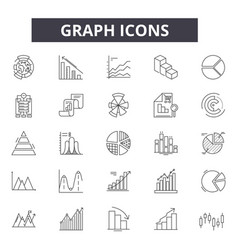 graph line icons signs set outline vector image