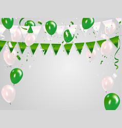 green white balloons confetti concept design 15 vector image