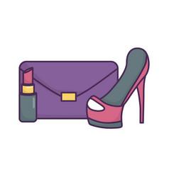 handbag high heels lipstick icon on white vector image